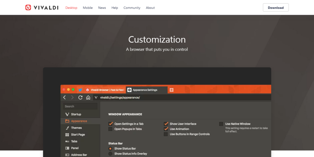 Vivaldi lets users customize every facet of their experience