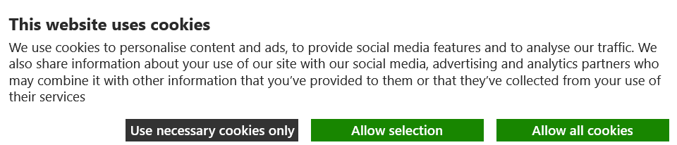 An example of a website cookie consent form